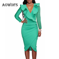 HOT AOWOFS Office Sexy Green Black Dress For Women Knee Length Long Sleeve White Dress Ruffles