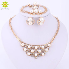 4Colors Bridal Simulated Pearl Jewelry Sets For Women Wedding Accessories Fine Gold Color Necklace Earrings Bracelet Ring Set