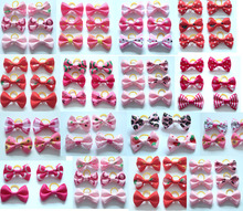 New 600pcs/lot  pet dog hair bows rubber bands pet dog grooming bows pink rose red girls dog  hair accessories grooming product