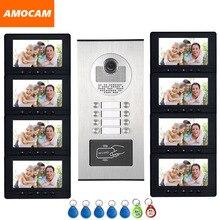 7 monitor wideodomofon RFID kamera wideodomofon z 6/8/10/12 jednostek wideo telefon drzwi 500 użytkownika dla wielu apartamenty