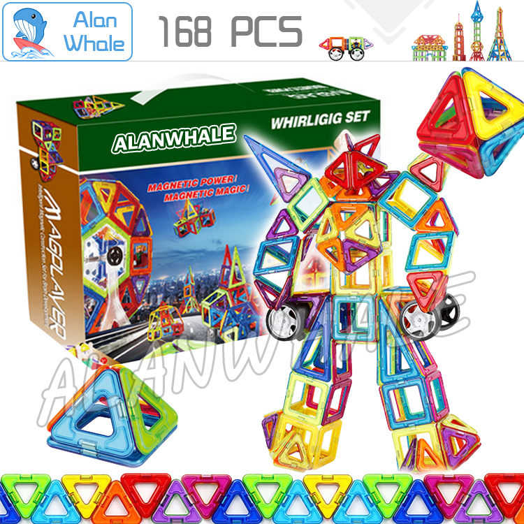 168pcs/set 3D DIY Kids Creative Educational Magnetic Building Blocks Toys Triangle Square Hexagon Wheels Deluxe Super Brain Set cheerlink zm 81 3mm neodymium iron diy educational toys set silver 81 pcs