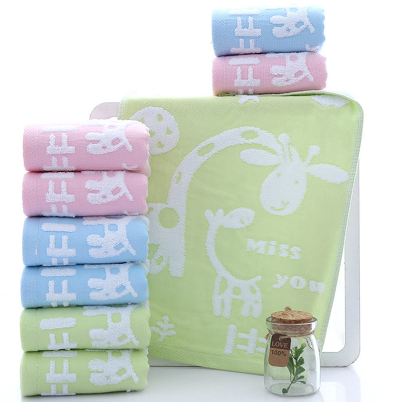 Hot sale Kids Washcloth Double Layer Face Towels Baby Cotton Hand Towel Cute Cartoon Wipe For Children giraffe sofe face towels