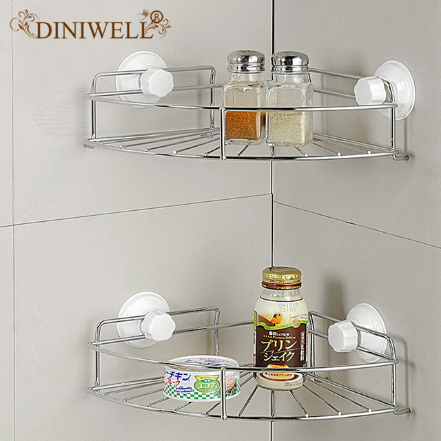 Diniwell Home Storage Fan Shaped Bathroom Suction Corner Rack With Removable Wall Mount Holder Shelf