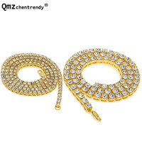 2pcs Lot Gold Silver Chain Bling 1 Row Rhinestone Hip Hop Necklace Link 24inch 30inch Mens