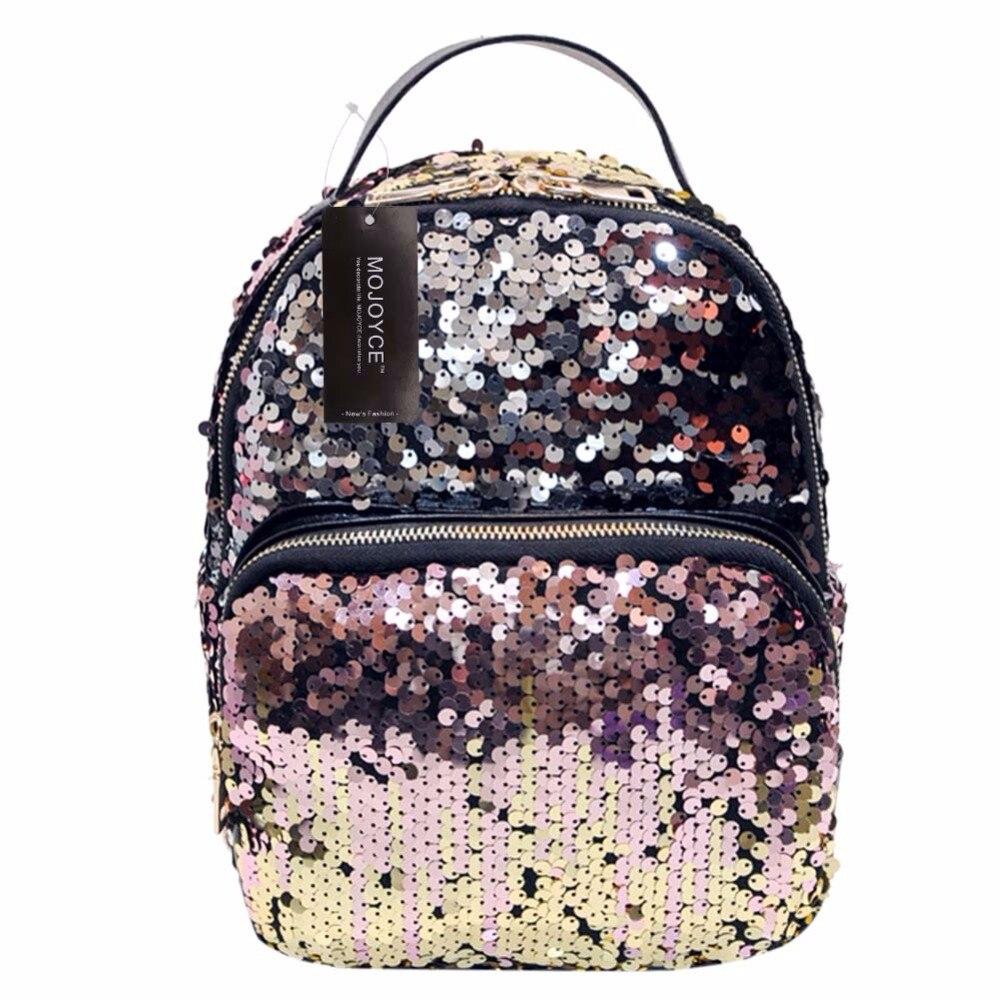 Mojoyce Новое поступление Для женщин универсальная сумка из искусственной кожи Блёстки рюкзак Обувь для девочек маленькое путешествие принцесса Bling Рюкзаки