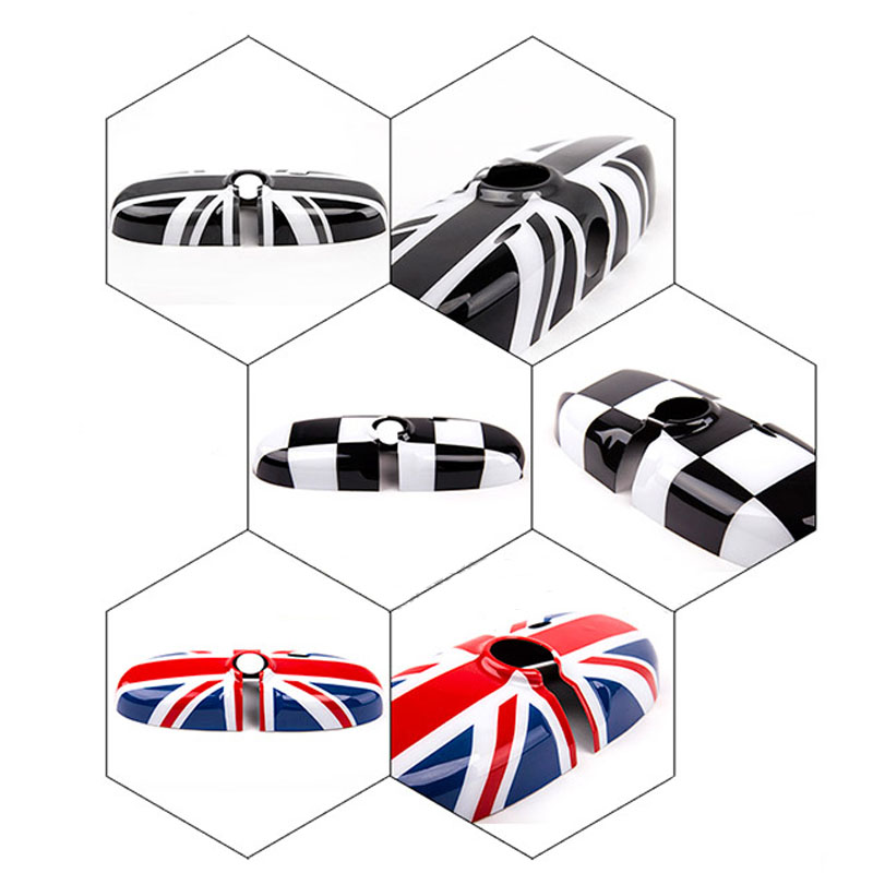 1Pcs Rearview Mirror Cover Interior View Mirror Shell Cover Car-styling For BMW Mini all series Union Jack Checkered Multan