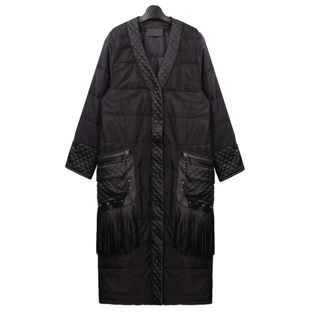 Europe 2016 New Parkas for Women Winter Quilted Fight PU Patchwork Tassels Long Cotton Coat Pockets Cotton Padded Parka