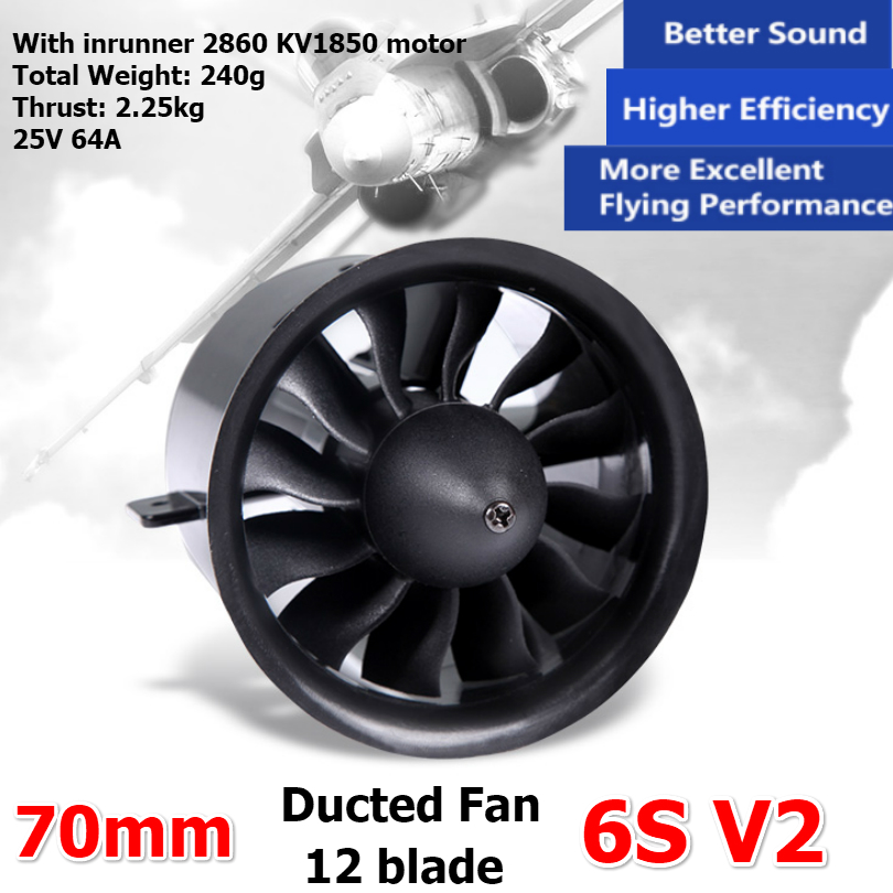 US $12 29 18% OFF|FMS 70mm Ducted Fan Jet EDF Unit 6S V2 12 blade With 2860  KV1850 Inrunner Motor Engine (optional) RC Airplane Model Plane Parts-in
