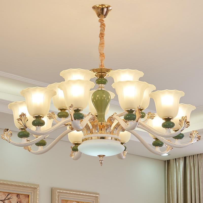 Led Chandeliers Living Room Suspension Luminaires Ceramic Suspended Lamps Luxury Lighting Fixtures Bedroom Hanging Lights Chandeliers