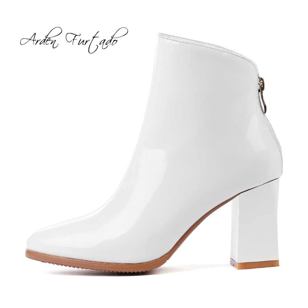 812a6767086 Arden Furtado 2018 winter genuine leather chunky heels white boots shoes  for woman zipper ankle boots small size 31 32 33 ladies