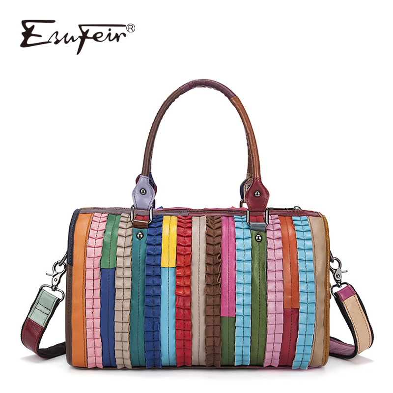 2018 ESUFEIR Boston Women Handbag Genuine Leather Shoulder Bag Luxury Brand Women Bag Patchwork Leather Casual Tote Bags bolsas luxury genuine leather bag fashion brand designer women handbag cowhide leather shoulder composite bag casual totes
