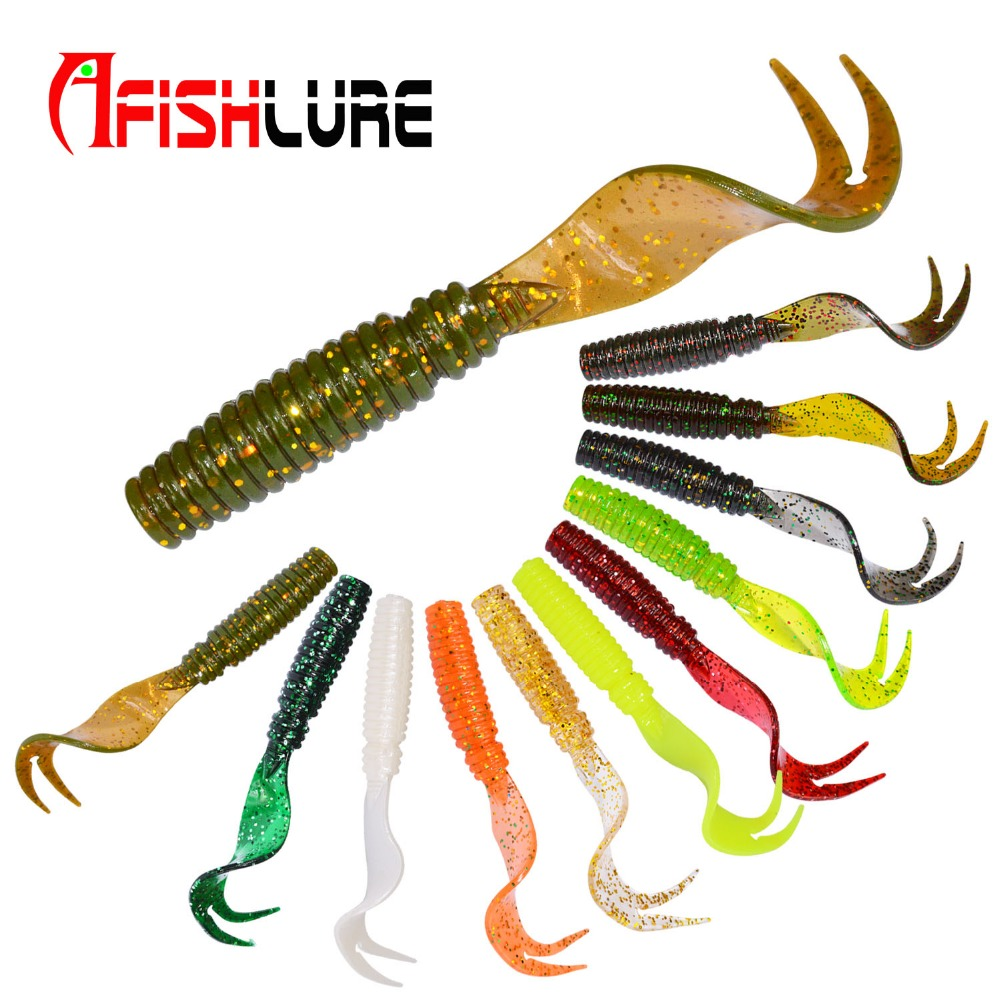 8pcs/lot Afishlure Curly Tail Soft Lure 75mm 3.3g Forked Tail fishing bait grubs Plastic Maggot Fishing lure Jig Head Texas Rig