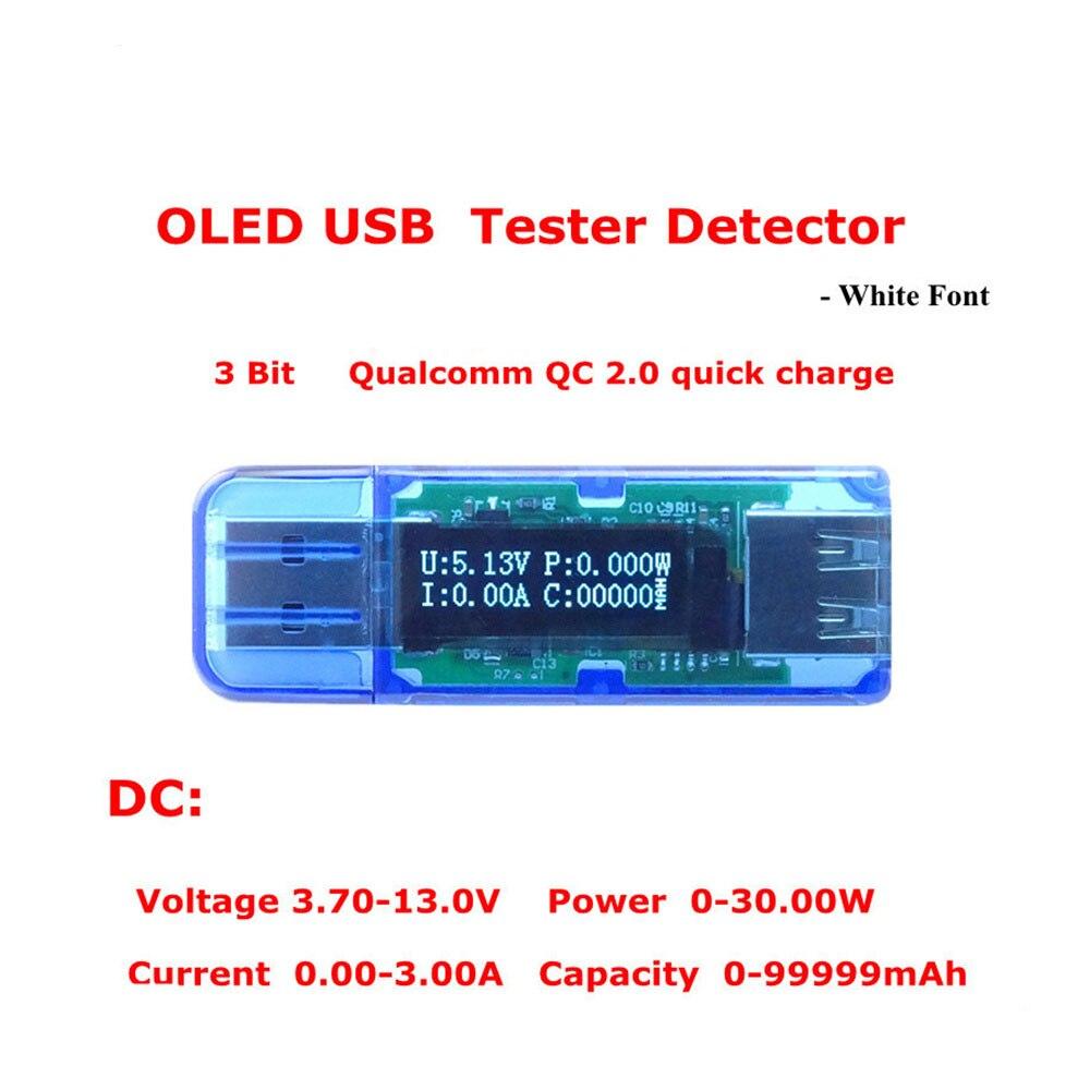 Blanc police couleur OLED USB détecteur voltmètre ampèremètre puissance capacité testeur multimètre tension courant mobile usb puissance