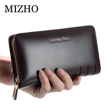 Men Genuine Leather Wallet Large capacity double zipper Purse Casual Long Business Male Clutch Wallets Large capacity storag bag genuine leather business men wallets flap hand bag double zipper handy clutches wallet large clutch bag
