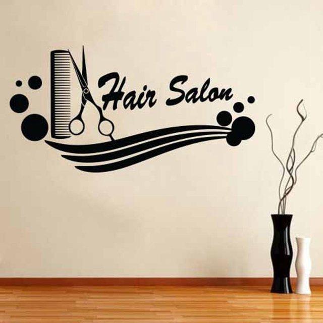 barber shop sticker name scissors hair salon decal neutral. Black Bedroom Furniture Sets. Home Design Ideas