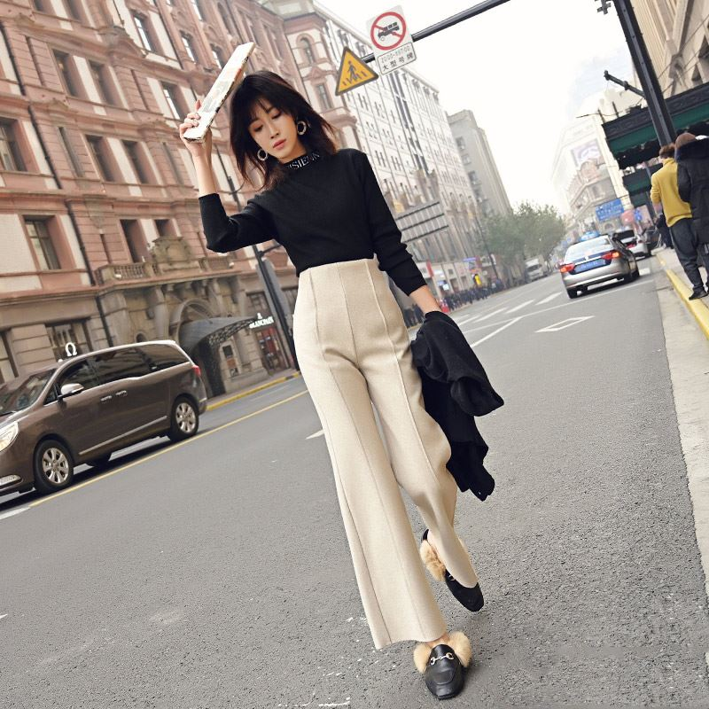 Female autumn winter woolen wide leg pants women's new Office lady high waist straight pants loose casual pants woolen trousers