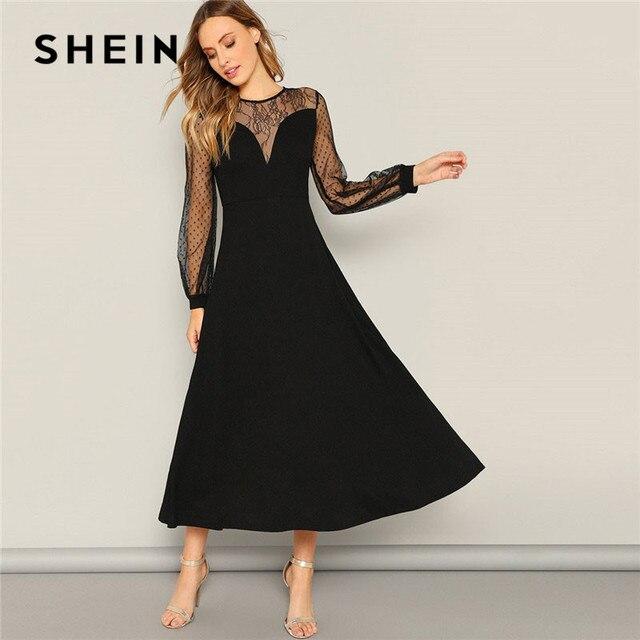 SHEIN ドットメッシュスリーブレースの恋人 A ライン黒ロングドレス春女性ビショップスリーブエレガントなマキシドレスの女性のパーティードレス