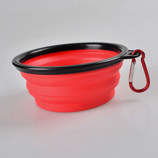 New Collapsible foldable silicone dog bowl candy color outdoor travel portable puppy doogie food container feeder dish Hot Sale