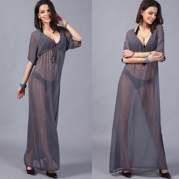 dba2ffbdb8 2019 Maternity Dress For Beach V Neck Gray Chiffon Long Dress ...