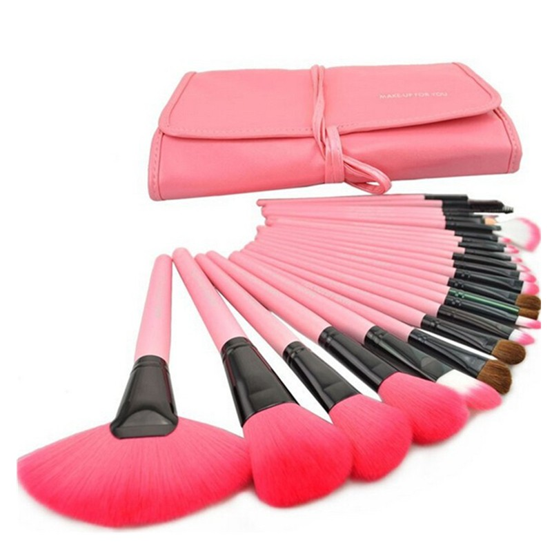 24 Pcs Makeup Brush Sets with Bag for Blending Foundation and Powder Suitable for Contouring and Highlighting 14