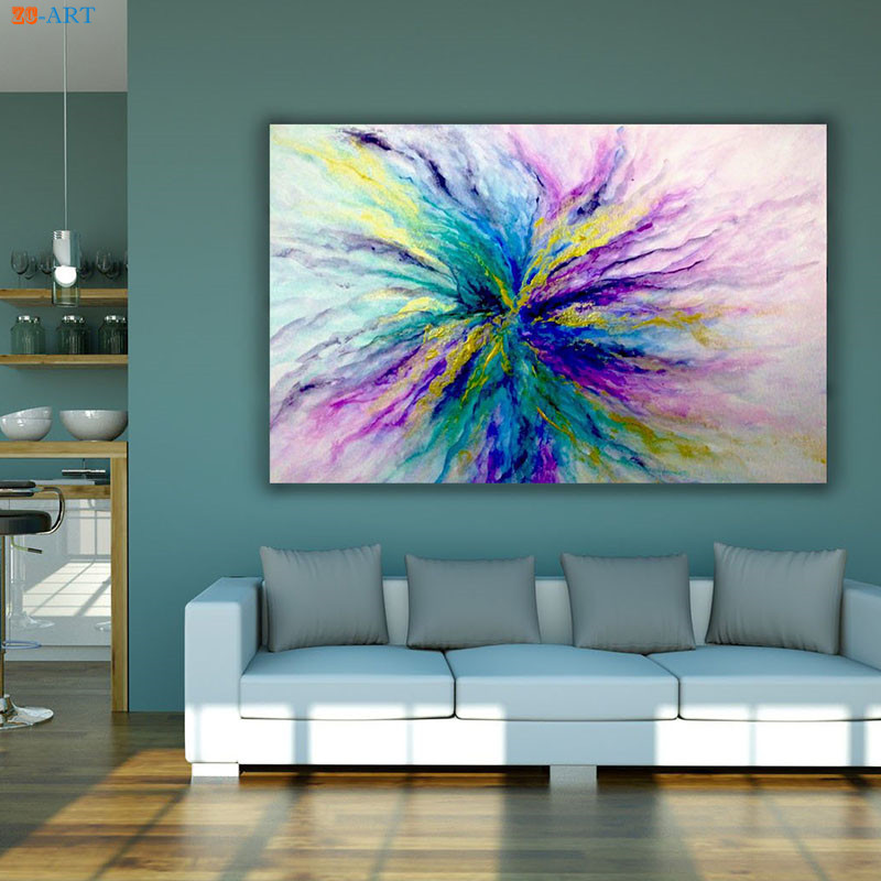 Abstract Glitter Artwork Teal Metallic Painting on Canvas ...