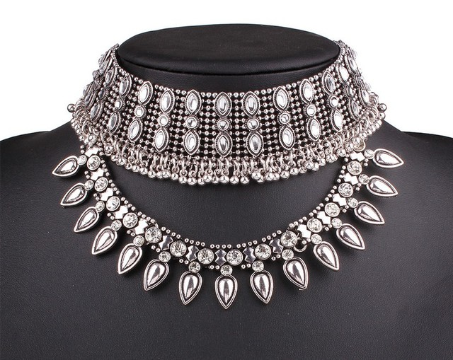 2016 Antique Silver Gold Choker Torques Vintage Choker Collar Necklace For Women