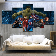 5 Panel HD Print The Avengers Movie Superman Art Canvas On Painting For home living room decoration