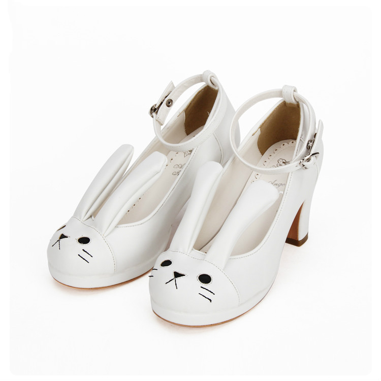Princess sweet lolita shoes Lolita high heel shoes adorable cute rabbit ears are thick with princess sweet shoes women pu8821 princess sweet lolita parkas in the winter of new women s original japanese sweet fox fur collar long sleeved coat c22cd7219