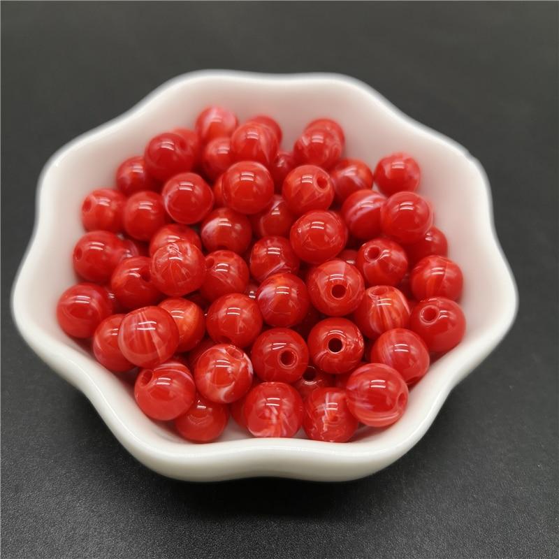 6, 8, 10 мм, Имитация натурального камня, круглые акриловые бусины с эффектом облаков, бусины для изготовления ювелирных изделий, браслет, ожерелье, аксессуары DIY - Цвет: 03-Red