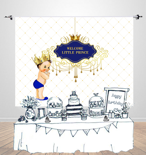 Birthday Background Boy Little Prince Baby Shower Banner Dessert Table Decoration Party Backdrop For Photography W 1004