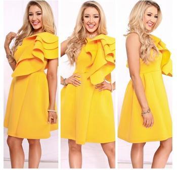 Summer Women Ruffles Dress Yellow Cascading Sexy Sleeveless Knee-length Dress Elegant Fashion Party Wear Pencil  Dress XXL цена 2017