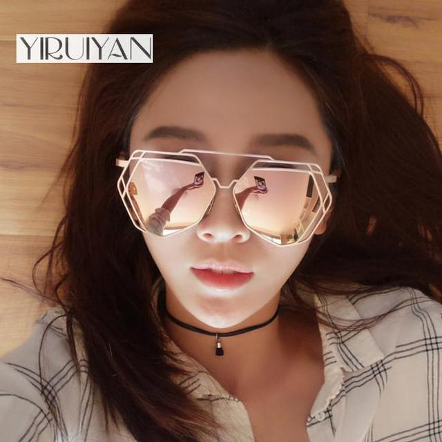 eca145fe979 5 pieces wholesale Sunglasses Women Mirror Glasses New Fashion Ladies  Sunglasses Luxury Geometry Twin-Beams