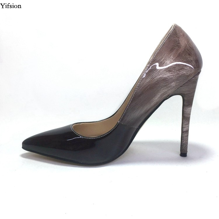 Olomm Hot Women Shiny Pumps Stiletto High Heels Shoes Nice Pointed Toe Ladies Black Office Party