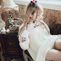 Princesa dulce lolita blanco y negro suéter sentido BOBON21 decoración Color de Rosa de la muchacha de cuello redondo suéter Retro estilo Estudiante T1420