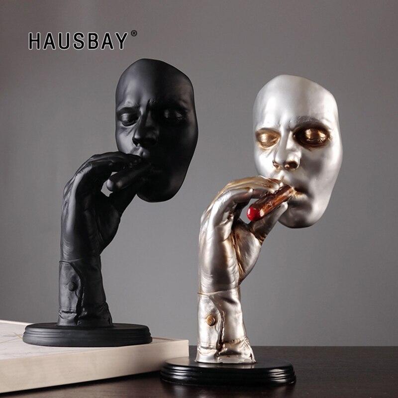 Retro palacz medytującymi abstrakcyjne rzeźby człowiek palenia cygar kreatywny statua charakter figurka z żywicy dzieła sztuki dekoracje domu D035 w Posągi i rzeźby od Dom i ogród na  Grupa 1