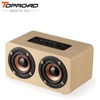TOPROAD Wireless Bluetooth Speaker Wood Portable Audio HiFi Home Theatre Sound Receiver Stereo Music Subwoofer Computer Speakers
