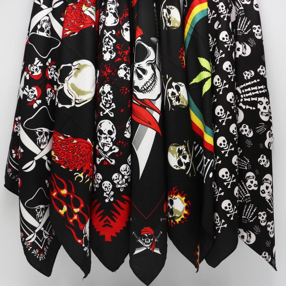 Polyester Pirates Skull Leaves Reggae Bandanas Men Hiphop Headband Headscarf Women Neckerchief Headwear Handkerchief
