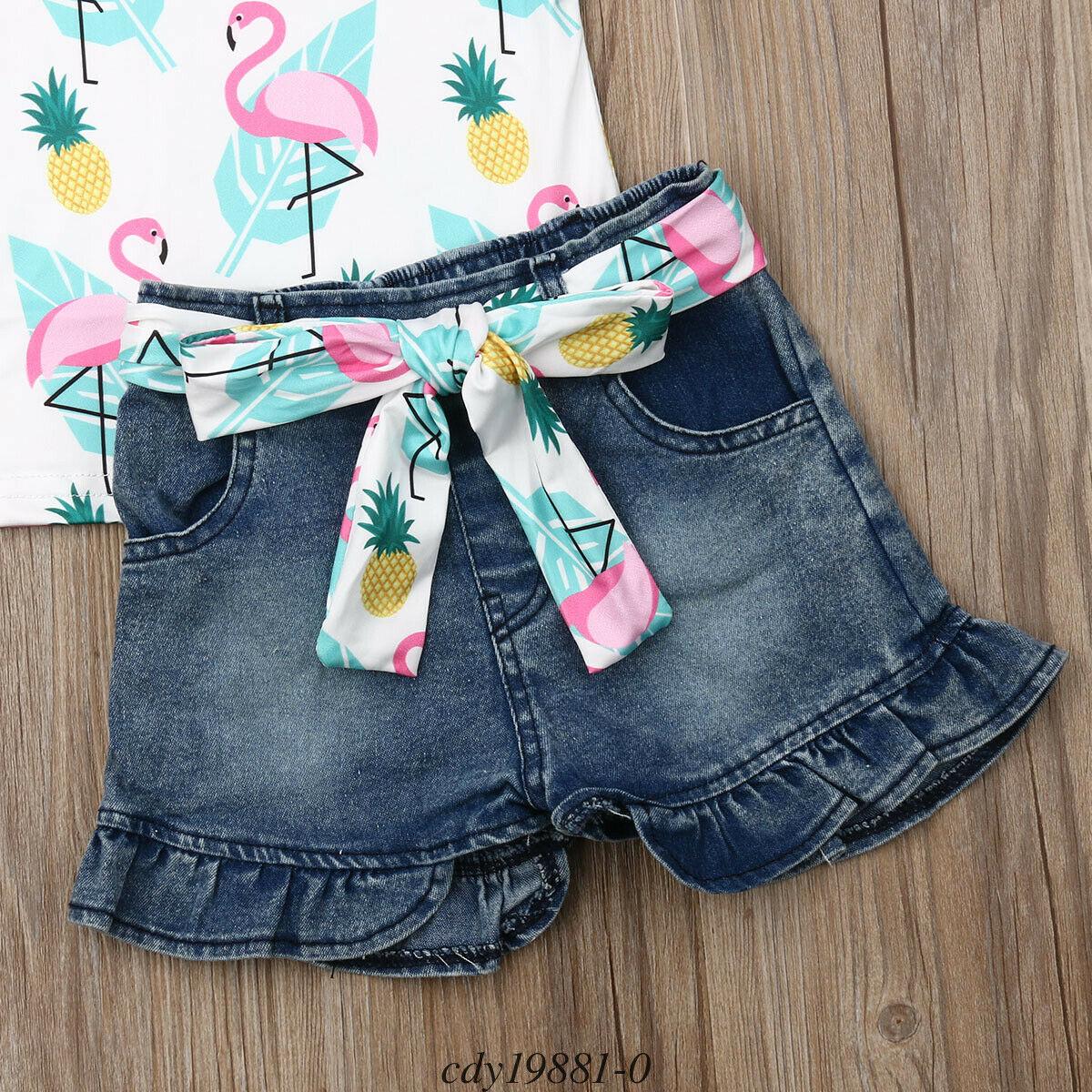 Toddler Baby Girl Shorts Outfits Sleeveless T Shirts Short Pant Pockets Clothing Sets