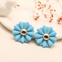 Flower Stud Earrings For Women Ear Studs Female Hot 2017 New Korean Fashion Candy-color Cute Flowers Jewelry