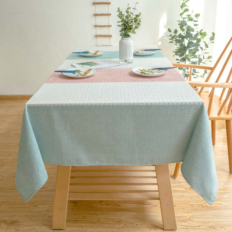 Waterproof Decorative Table Cloth Tablecloth Candy Color Stripe Rectangular Dining Table Cover Obrus Tafelkleed mesa nappe
