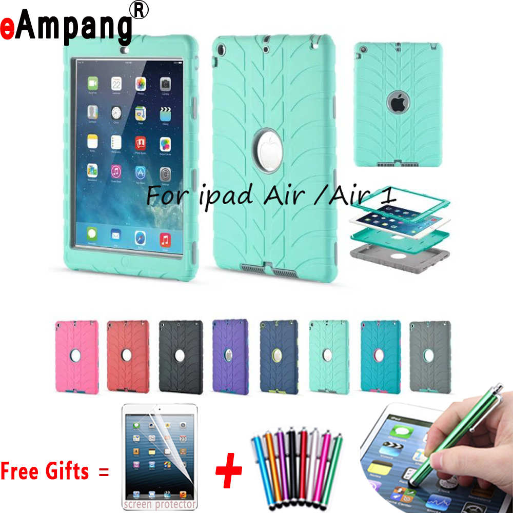 Kids Baby Safe Armor Shockproof Heavy Duty Silicone Case Cover for Apple iPad Air 1 iPad 5 9.7 inch Coque Capa Funda + Film+ Pen hmsunrise case for apple ipad air 1 kids safe shockproof heavy duty silicone hard cover for ipad 5 case with wrist strap