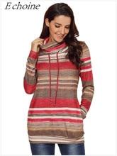 2018 Autumn Women Stripe Hoodies Sweatshirt  Winter Cowl Neck Drawstring Long Sleeve Casual Ruffled Collar Hoodies  Hoodie Tops drawstring plus size cowl neck sweatshirt