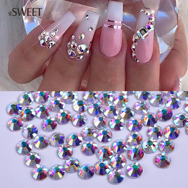 1440pcs Shiny Crystal Ab 3d Nail Art Rhinestones Gold Bottom Glass