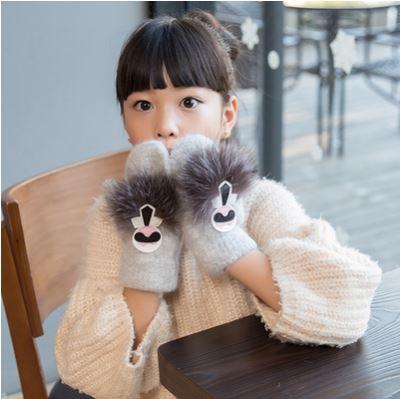 GLV842 Dwinter thickening velvet children warm font b gloves b font girl children rabbit fur fingerless