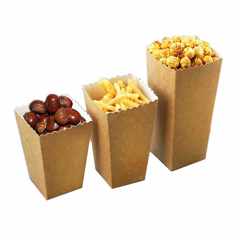 Descartáveis de Papel Kraft Pipoca Copo De Papel Lanche Caixa de Batatas Fritas Tarja Caixa de Fast Food Recipiente De Espessura Sólida Copo Pacote de Cinema 50 pçs/set