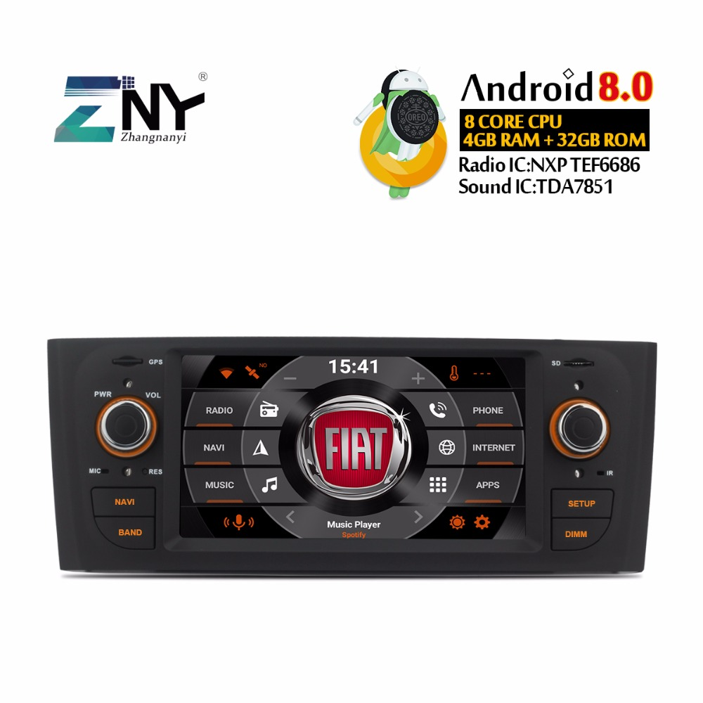 Android 8.0 7.1 Car Stereo DVD Auto Radio For Grande Punto Linea 2007 2008 2009 2010 2011 2012 GPS Navigation