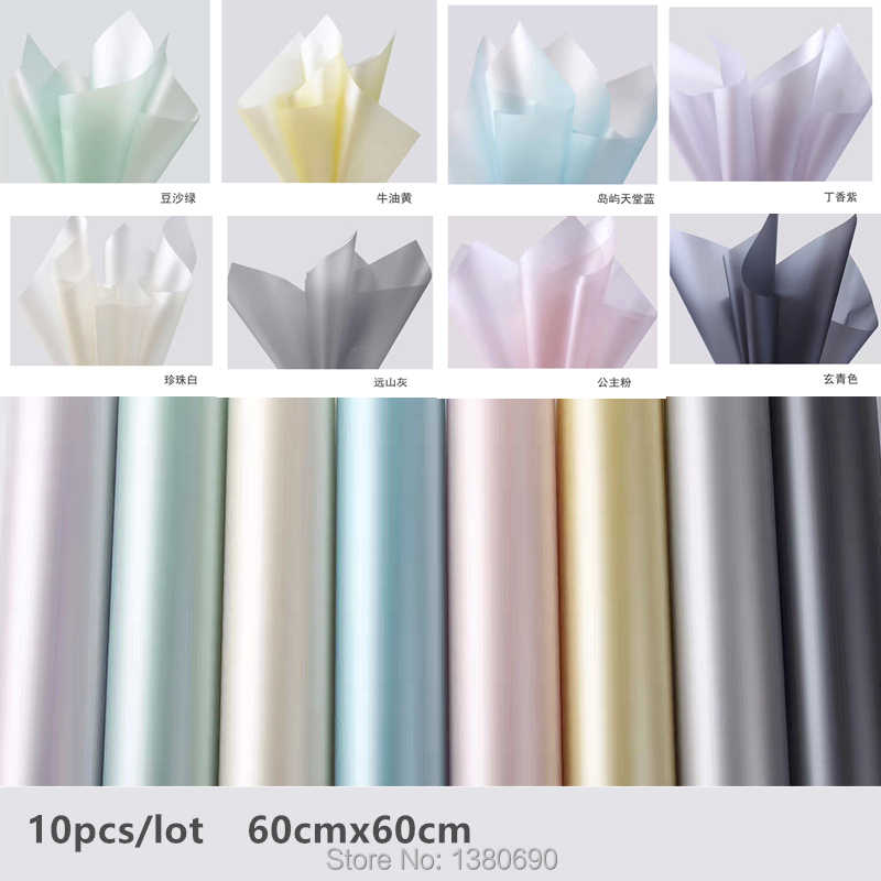 10Pcs Bright Flower Bouquet Packaging Paper Package Ribbon Florist Supplies Gift Wrapping Paper Handmade Material Decor for Home