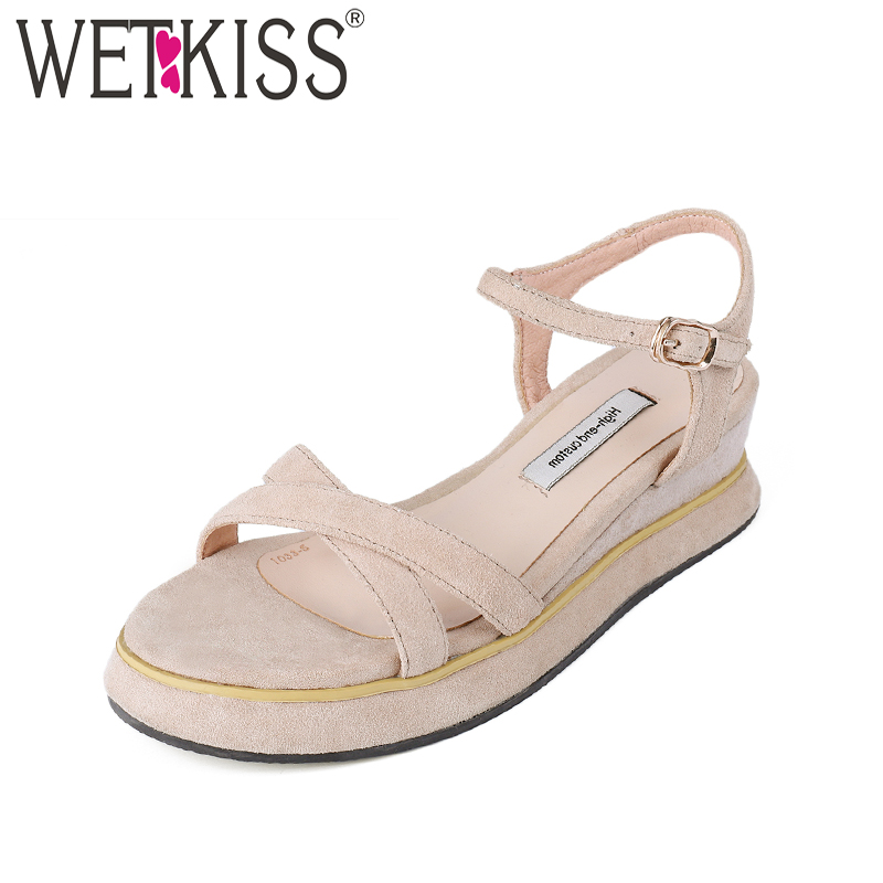 WETKISS Casual Women Summer Sandals Cow Suede Wedges Open Toe Platform Footwear High Heels 2018 Fashion New Female Shoes mudibear women sandals pu leather flat sandals low wedges summer shoes women open toe platform sandals women casual shoes