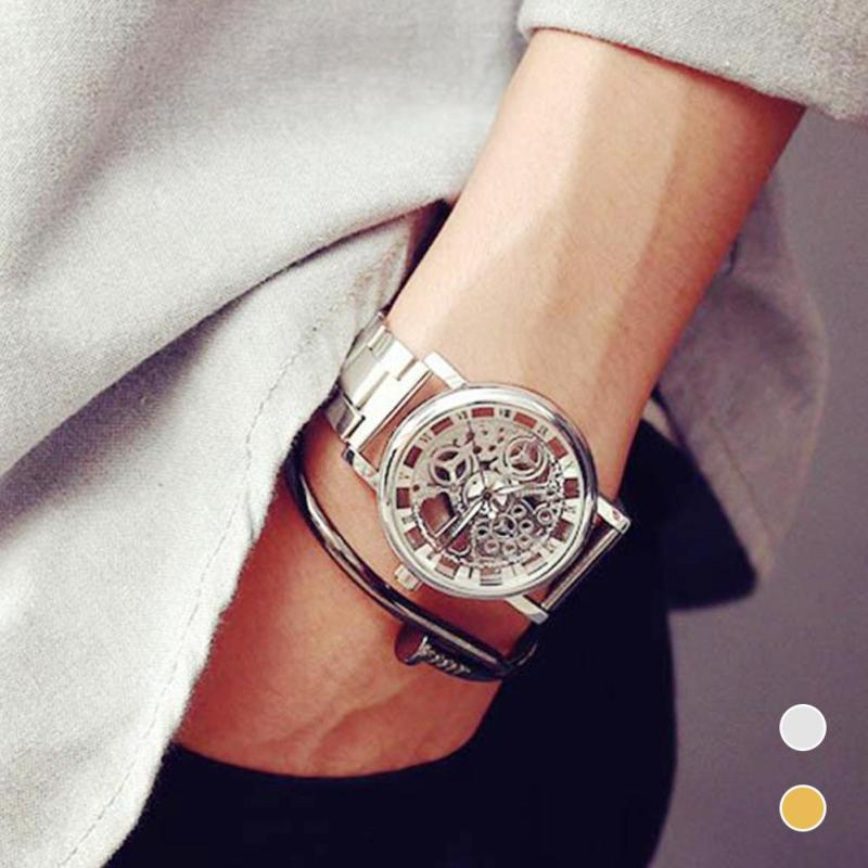 1pc men male casual watch clock gift business Round analog Hollow personality trend quartz Wristwatches stainless