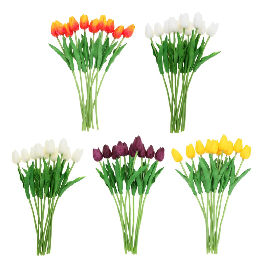 10 unids/set PU Fake Tulipanes de Seda Artificial Flores Artificiales Ramos de F